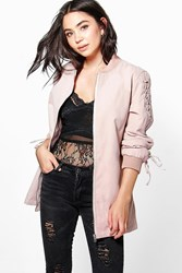 Boohoo Lace Up Detail Bomber Stone