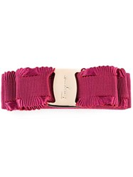 Salvatore Ferragamo Logo Embossed Hair Clip Pink Purple