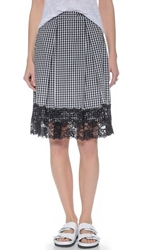 Wayf Lace Trim Gingham Skirt Black White Gingham