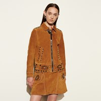 Coach Suede Jacket With Studs Brown