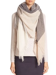 Peserico Oversized Striped Scarf Taupe Multi