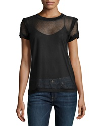 P. Luca Fishnet Short Sleeve Top Black