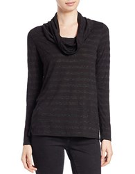 Lord And Taylor Metallic Cowl Neck Sweater Black