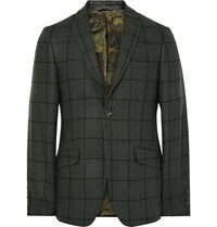 Etro Green Slim Fit Windowpane Checked Wool Blend Blazer Green