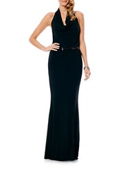 Laundry By Shelli Segal Belted Cowlneck Gown Black