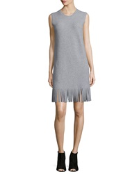 Theory Rosetty Sleeveless Fringe Dress Heather Gray