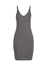 Atm Anthony Thomas Melillo Striped Ribbed Jersey Dress Black White