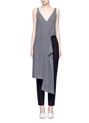 Stella Mccartney Asymmetric Cutout Wool Knit Tunic Grey
