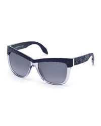 Roberto Cavalli Pebbled Retro Plastic Sunglasses Violet Gray