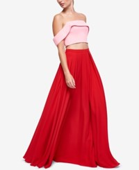 Fame And Partners Gillian Off The Shoulder 2 Pc. Dress Pink Cherry Red