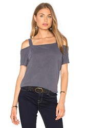 Splendid Vintage Whisper Open Shoulder Top Charcoal