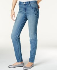 Styleandco. Style Co. Star Embroidered Skinny Jeans Only At Macy's Sea Glass