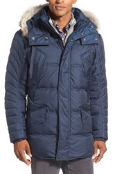 Marc New York Men's By Andrew 'Stowaway' Hooded Parka With Genuine Coyote Fur Trim Ink Blue