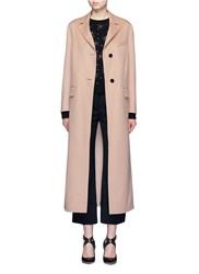 Valentino Inverted Back Pleat Wool Cashmere Long Coat Neutral