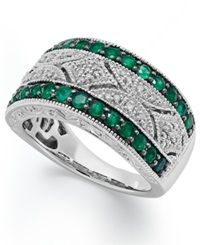 Macy's Emerald 1 2 Ct. T.W. And Diamond 1 10 C.T. T.W. Antique Band In Sterling Silver Green