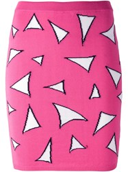 Jeremy Scott Triangle Knitted Fitted Skirt Pink And Purple