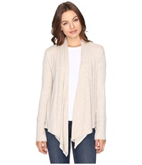Culture Phit Edda Long Sleeve Ribbed Cardigan Oatmeal Women's Sweater Brown