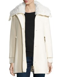 Moncler Calipso Wool Blend Coat W Fur Collar Ivory