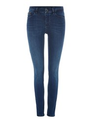 Calvin Klein High Rise Skinny Jean In Crushed Eighties Stretch Denim Mid Wash