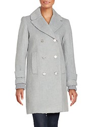 French Connection Wool Blend Long Coat Pale Grey