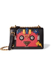 Prada Robot Appliqued Textured And Croc Effect Leather Shoulder Bag Black