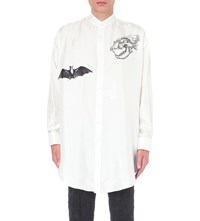 Alexander Mcqueen Bat And Dinosaur Skull Silk Shirt Ivory Black