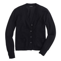 J.Crew Petite Merino Wool V Neck Cardigan Sweater Black