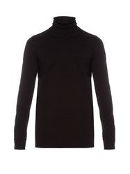 Rick Owens Roll Neck Long Sleeved Cotton Sweatshirt Black