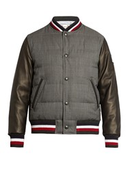 Moncler Gamme Bleu Leather Sleeved Quilted Wool Bomber Jacket Grey Multi