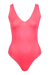Topshop Plunge Front Swimsuit Pink