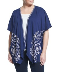 Jwla By Johnny Was Plus Embroidered Draped Open Cardigan Navy