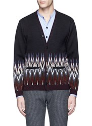 Camoshita Tribal Intarsia Knit Wool Cashmere Cardigan Multi Colour