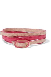 Fendi Textured Leather Gold Tone And Enamel Wrap Bracelet Pink