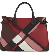 Burberry Banner Leather Tote Pink White Black