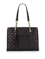 Saks Fifth Avenue Tara Quilted Leather Tote Bag Black