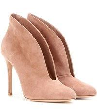 Gianvito Rossi Vamp Suede Peep Toe Ankle Boots Neutrals
