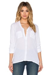 Stateside Bubble Gauze Long Sleeve Button Up White