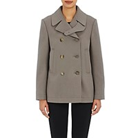 Helmut Lang Women's Double Breasted Crop Peacoat Light Grey