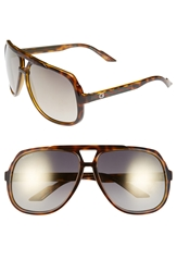 Gucci Logo Temple 63Mm Aviator Sunglasses Havana Gold Mirror