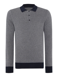 Peter Werth Julius Dogtooth Long Sleeved Knitted Cotton Polo Navy