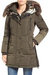 1 Madison Women's Faux Fur Trim Chintz Hooded Down Coat Olive