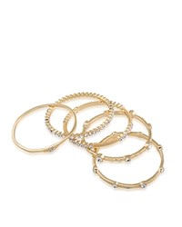 Abs By Allen Schwartz Jeweled And Textured Bangles Set Of 5 Gold