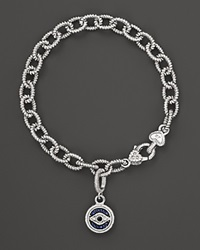 Judith Ripka Evil Eye Charm Link Bracelet With White Black And Blue Sapphires