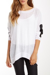Central Park West Faux Leather Sleeve Linen Sweater White
