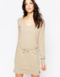Lavand Long Sleeve Belted Shift Dress Beige