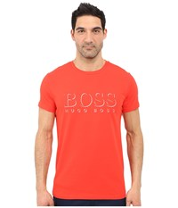 Hugo Boss Short Sleeve Crew Bm 10144 Boss Logo Spf Tee Red 1 Men's Swimwear