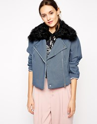 Antipodium Woody Biker With Removeable Faux Shearling Collar Denim