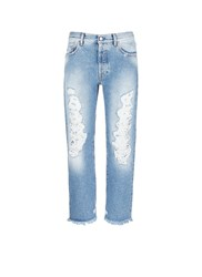 Palm Angels Vintage Wash Cropped Ripped Jeans Blue