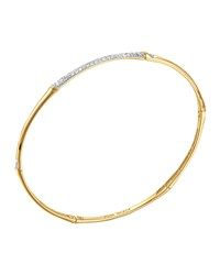Bamboo 18K Gold And Pave Diamond Center Bangle John Hardy Green