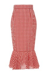 Holly Fulton Pencil Skirt With Ruffle Hem Red